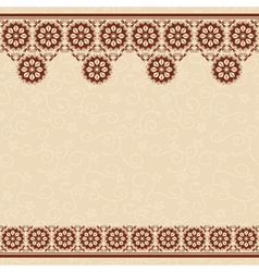 beige seamless background with dark brown border vector image vector image