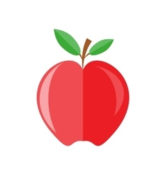 red apple with branch and leaves vector image