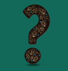 vintage romantic question mark with golden flowers vector image vector image