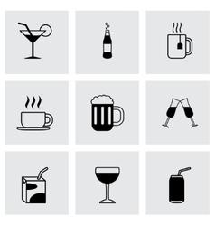black beverages icons set vector image