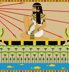 Egyptian Girl on the Boat vector image vector image