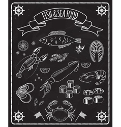 Fish and seafood blackboard elements vector image vector image