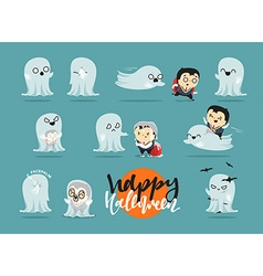 Funny cartoon schoolboy character and ghosts vector image vector image