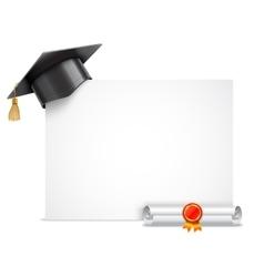 Graduation Cap and Diploma Scroll vector image vector image