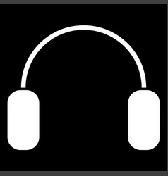 headphone the white color icon vector image vector image