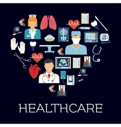 Heart symbol with healthcare and medical icons vector image vector image