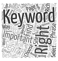How To Choose The Right Keyword text background vector image