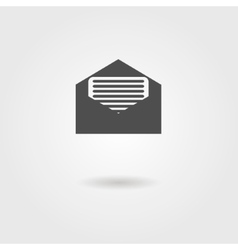 open envelope black icon with shadow vector image