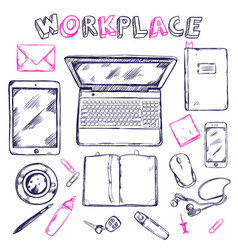 sketch workplace top view composition vector image