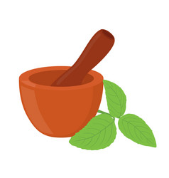 basil herb mortar pestle cartoon style vector image