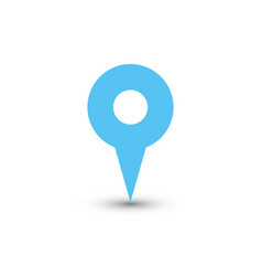 Blue map pointer with dropped shadow on white vector