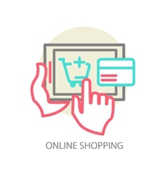 Line internet shopping concept - browser window vector image