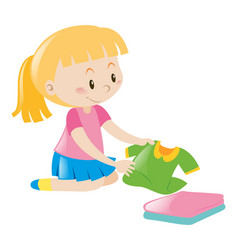 Little girl in pink folding clothes vector