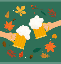 two hands holding beer glass beer autumn festival vector image vector image