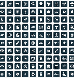 100 ecology icons vector