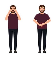 A man has a headache and stomach ache a sharp vector