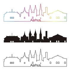 Aarhus skyline linear style with rainbow vector image