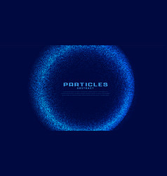 Abstract circular techno particles blue background vector