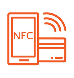 an orange icon with a smartphone and bank card vector image