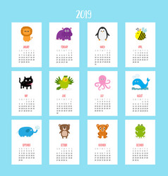 animal vertical monthly calendar 2019 cute funny vector image