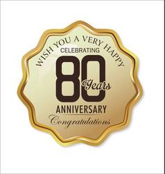 anniversary retro label 80 years vector image