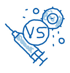 Anti-virus injection doodle icon hand drawn vector