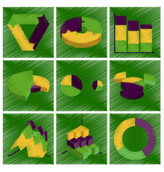 Assembly flat shading style icons economic graphs vector