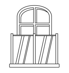 balcony with an arched window icon outline style vector image