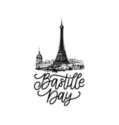 Bastille day designdrawn eiffel vector
