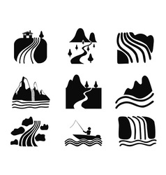Black river icons set vector