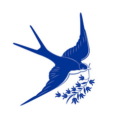 blue swallow vector image