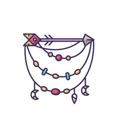 Boho accessory with arrow rgb color icon bohemian vector