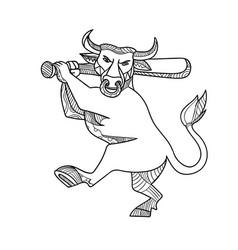 bull baseball bat mono line vector image