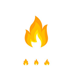 Burning flame element on white vector