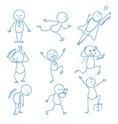 business stickman hand drawn figures in different vector image