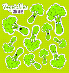 Cartoon broccoli cute character face sticker vector