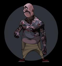 Cartoon mustache bald man with tattooed body vector