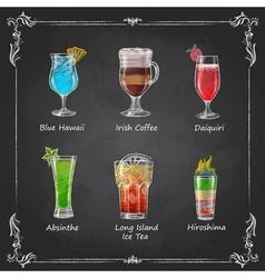Chalk drawings cocktail menu vector image