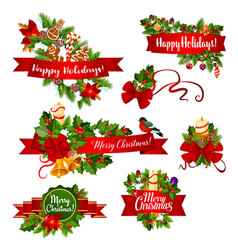 Christmas or new year garland ribbon banner design vector