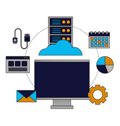 cloud computing monitor cpu connection vector image