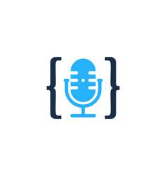 code podcast logo icon design vector image