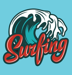 color calligraphic inscription surfing with wave vector image