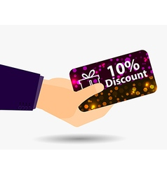 Coupon for a 10-percent discount in the hand vector