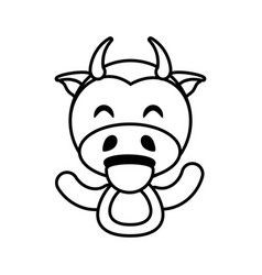 Cow animal toy outline vector