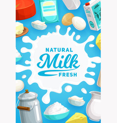 Dairy products and milk farm food vector
