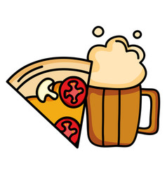 delicious italian pizza with beer jar vector image