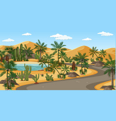 Desert oasis with palms and road nature landscape vector