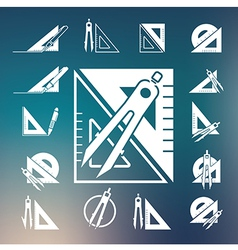 Drawing compass icon set vector