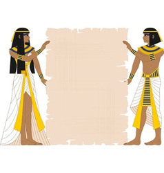 Egyptian Woman and Man Holding Papyrus vector