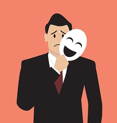 Fake businessman holding a smile mask vector